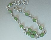 STERLING SILVER BRACELET green cabs No.00537