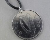 Ireland coin . IRISH COIN NECKLACE . coin jewelry. deer . punt . Irish Harp Pendant . ireland necklace.  No.00628