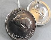 Rabbit earrings. bunny earrings.  CANADIAN earrings. Canada coin jewelry . hare. 1967 No.00764