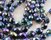 CARNIVAL GLASS NECKLACE 46 inch iridescent peacock faceted knotted vintage black beads  8mm  No.00751