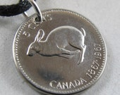 Rabbit Charm. Canada coin Necklace.  Canada charm. animal coin. bunny jewelry. Canada Pendant.. 1967 Coin by Cecile Stewart No.00764