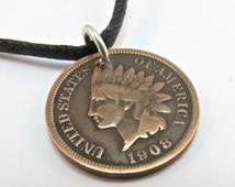 United STATES penny necklace pendant  - One Cent Indian Head - usa coin jewelry   No.00832 he