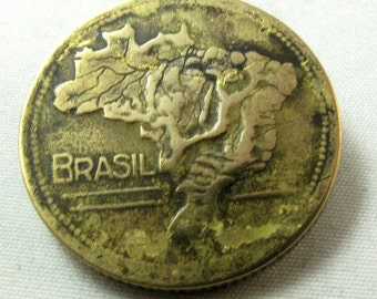 COIN BROOCH Brazil South America 1945  Vintage Pin  NO.00129