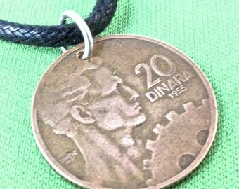 COIN NECKLACE YUGOSLAVIA 1943 20 Dinara Pendant. mens jewelry. No.00240