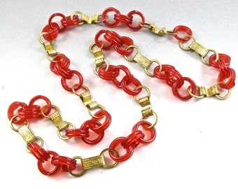 czech PLASTIC AND BRASS  necklace - vintage chain  - partsforyou No.00549