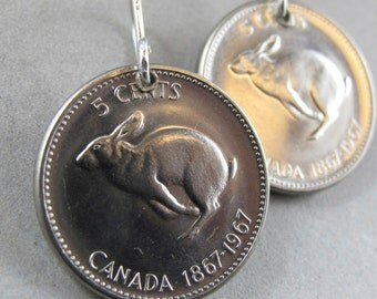 Rabbit earrings. bunny earrings.  CANADIAN earrings. Canada coin jewelry . hare. 1967 No.00764