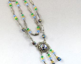 CZECH FOIL GLASS necklace lavalier filigree silver brass 1900 No.00759
