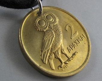 GREEK OWL coin NECKLACE lucky owl Pendant  Drachma 1973  greece. jewelry pendant No.00859