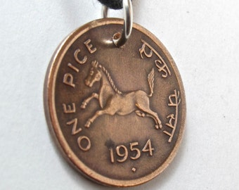 INDIA COIN  Pendant Charm  one pice 1953 horse god lion  INDIAN No.00880
