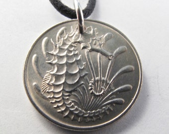 SEAHORSE necklace SINGAPORE  coin necklace.  seahorse charm. seahorse jewelry pendant. 10 cents. animal coin jewelry CHOOSE year No.00736