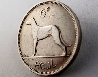 IRELAND  BROOCH .  dog coin  brooch . irish wolfhound . Eire harp celtic sixpence luck  No.00782