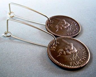 JENNY WREN  earrings england .  farthing . sterling silver hoop hook . Bird wren British   No.00824