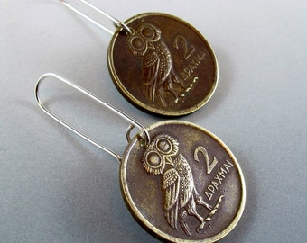 Owl Earrings. Owl Jewelry. Owl Coin Earrings. Bird Jewelry. Boho Earrings. Greece Coins. Greek Earrings No.00830