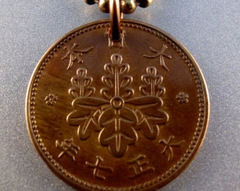 JAPAN NECKLACE , coin jewelry. coin necklace. japanese yen . chrysanthemum flower. chain No.00812