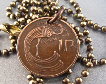 IRELAND coin necklace Celtic jewelry . ireland  1p. pence. chain. irish coin. pendant . choose year  NO.00297
