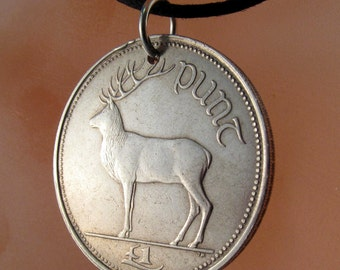 IRELAND COIN NECKLACE  irish coin . red deer necklace.  1 one punt .1994 coin Irish Harp Pendant No.001076