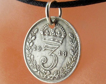 ANTIQUE ENGLAND SILVER coin necklace. silver coin. 3p . english three pence charm pendant.  No.001088