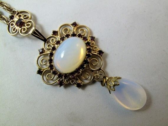 VINTAGE. moonstone necklace. filigree glass. CZECH Lavalier. Rhinestone . Pendant  NO.00136