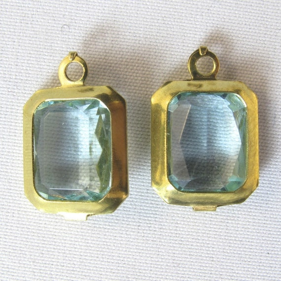 Vintage Earring Drops. Earring Components. Blue Pendants.  Synthetic Aquamarine / Brass Mount Pendant  15x10mm N0.00117