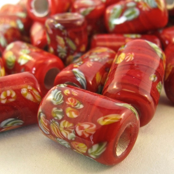 JAPANESE MILLIFIORE glass beads .5 inch red tube lampwork - lot 27 pieces  No.00453