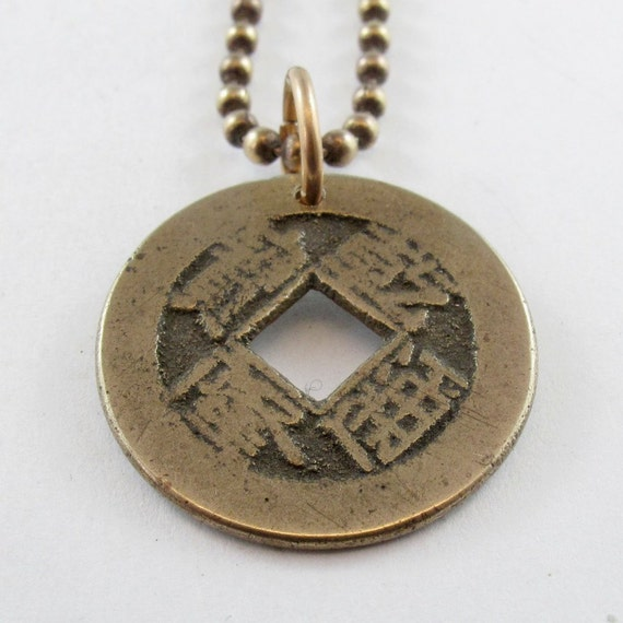 CHINESE COIN jewelry  necklace  Pendant  . china . asian . oriental .  customizable chain length No.00911