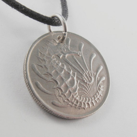 SINGAPORE  SEAHORSE 1968  coin necklace charm pendant 10 cents  sterling silver bail  No.00736 1
