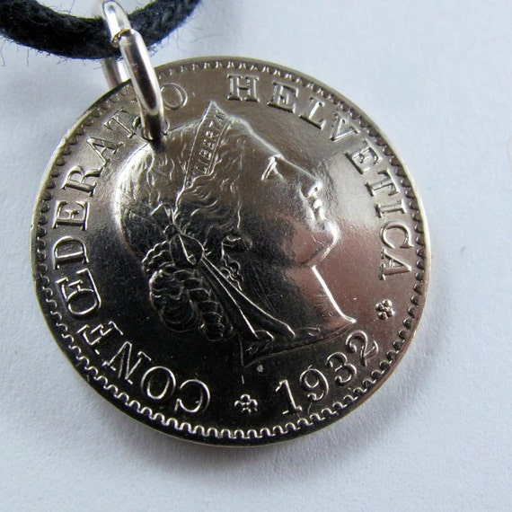 reserved vintage 1932 SWITZERLAND coin necklace pendant. 5 rappen . franc. confoedratio Helvetica swiss sterling silver. jewelry No.00960