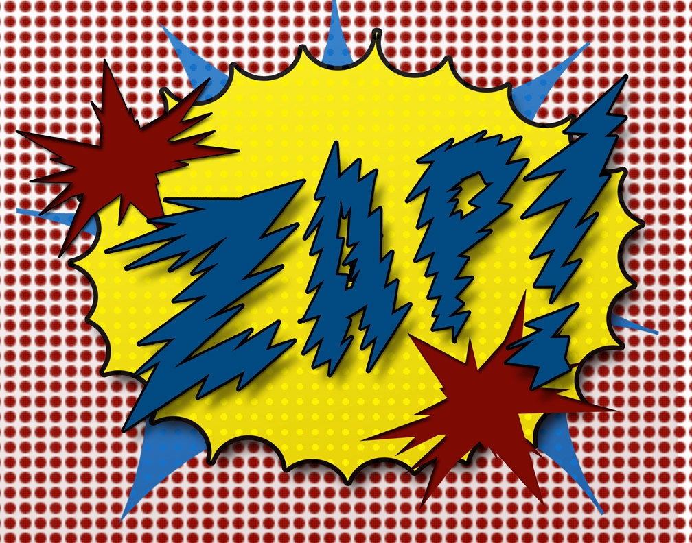 Boy Pop Art Prints Crash Biff Zap In The Comic By