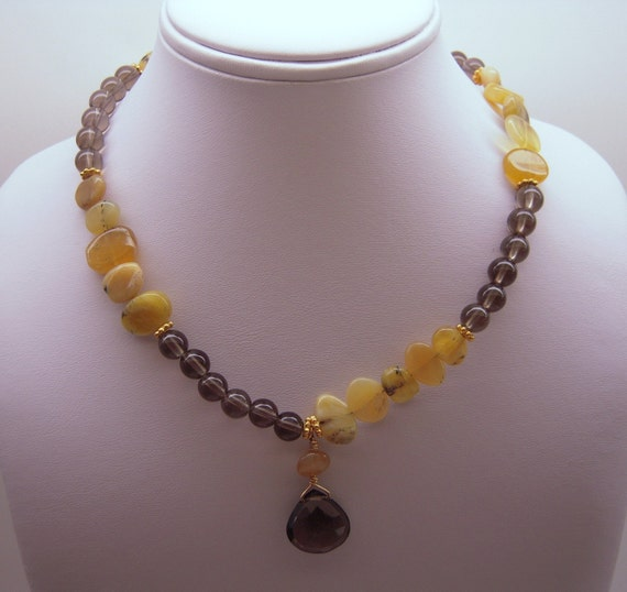 Asymmetrical Yellow Opal and Smoky Quartz Necklace