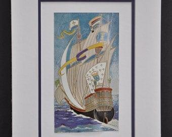 La Caravelle, gorgeous vintage print of a ship, vintage french art, ship at sea