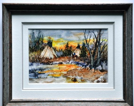 Indian Summer by jerrilyn Emison Original miniature transparent water color Indian Camp