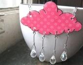 Cloud Shaped Garden Showers Rain Crystal Raindrops Pink Flower Necklace