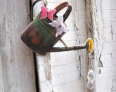 Gift Gardener Brooch Cottage Chic Watering Can with Crystal Water Drops