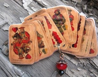 Old Hungarian Playing Cards Brooch
