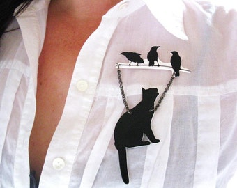 Animal Brooch Black Cat and Birds Pet Lover Silhouette Art Gift Unique Funky Cool Present Trendy Pin Best Seller Gift For Her