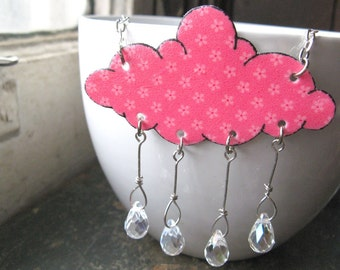 Cloud Shaped Garden Showers Rain Crystal Raindrops Pink Flower Necklace