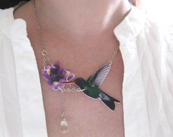 The Hummingbird and the Lilac Purple Iris Flower Necklace Jewelry Crystal Water Drop