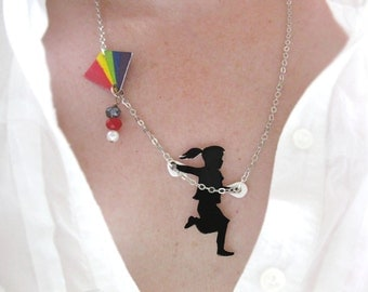 LGBT jewelry Statement Necklace Rainbow Girl Flying a Kite Black Silhouette Pride Jewellery