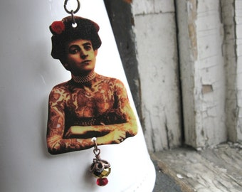 Etsy Necklace The Tattooed Circus Lady Vintage Inspired Image
