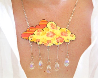 Bright Crystal Cloud Necklace Women Tangerine Orange Rain Shower Raindrop Floral