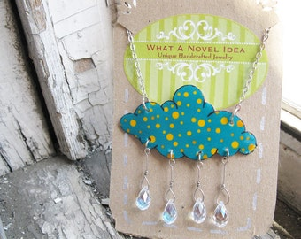 Dot Pattern Bright Teal with Yellow Polka Dots Necklace Cloud Necklace and Crystal Raindrops