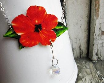 Tropical Jewelry Orange Flower Necklace Tangerine Women's Hibiscus with Glass Dew Drop Image Nature Summer Trending Image