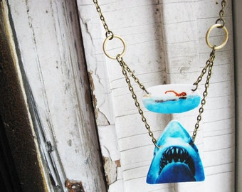 Statement Necklace Jaws Fan Jewelry Shark Week Animal Geekery Women Accessory Swimming Girl Unique Unusual and Weird Movie Gifts for Girls