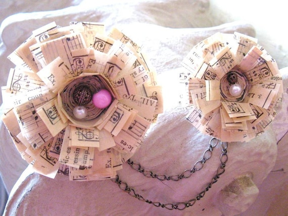 Music Musician Altered Vintage Flower Book Brooch with Chains, Filigree and Pink Beads