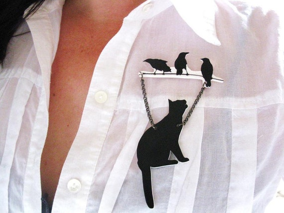 Animal Brooch Black Cat and Ravens Pet Lover Silhouette Art Gift Unique