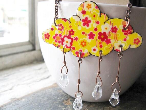 Neon Bright Rain Drops Lemon Yellow Rain Cloud and Crystal Showers Raindrops Floral Print Necklace