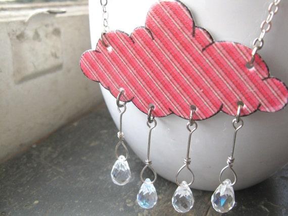 Tartan Plaid Scotland Red Necklace Raindrop Cloud Showers Rain Crystal Jewelry