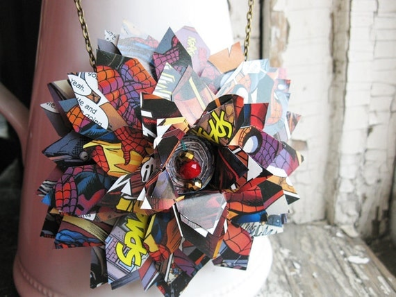 Spiderman Comic Book Superhero Necklace Jewelry Geekery for Her