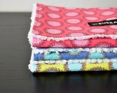 Baby Burp Cloths, Set of 3, Amy Butler Laurel Dots in Cherry, Periwinkle and Cilantro and White Chenille LAST SET