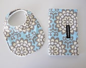 Baby Bib and Burp Cloth Set, Wallflower in Sky and White Bubble Dot Minky